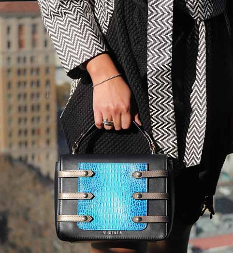 Black Leather Asteria Evening Bag with turq blue Phone Pocket