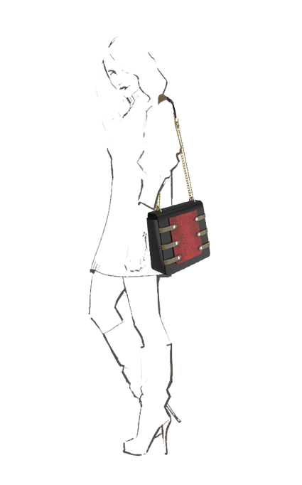 Asteria Evening bag with Phone Pocket & metal sling in Black & Red leather