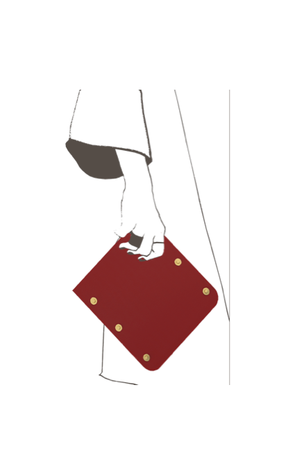 Asteria Handheld Phone Case in Red leather