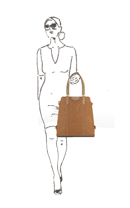 Triad Carry-All everyday handbag in Brown textured top-grain leather