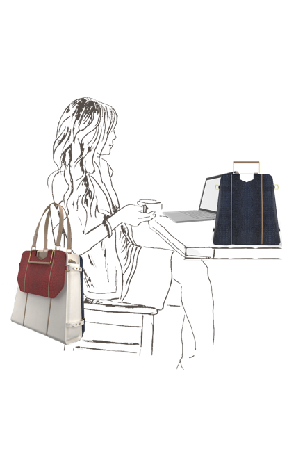 Spacious Triad Carry-All Bag in White leather with Red clutch & Navy Blue laptop bag