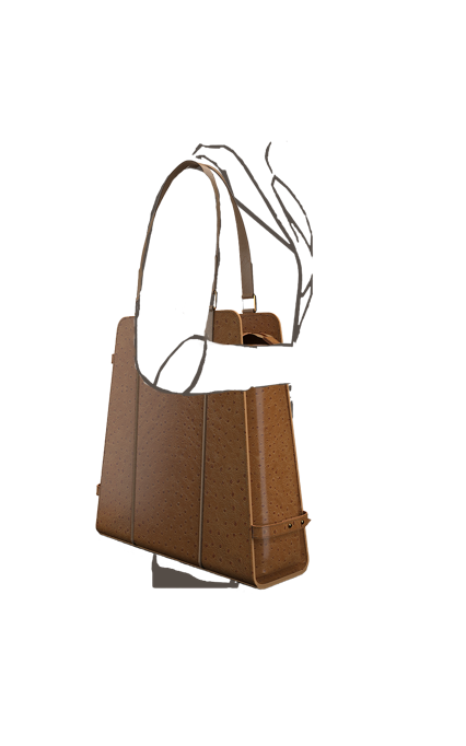 Triad Carry All structured zippered tote bag in Ostrich Embossed Brown Leather