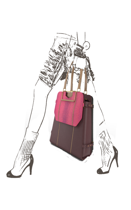 Spacious Triad Carry-All Bag in Wine leather with Fuchsia Pink clutch & Metallic Smoke laptop bag