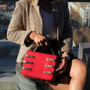 red leather flap bag