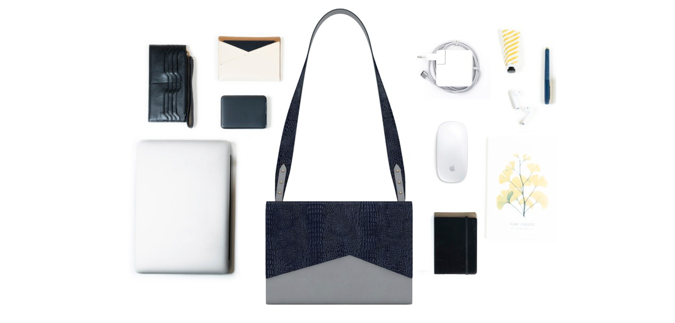 Volt Laptop Sleeve & Sling in grey leather fits in laptop, phone, wallet & passport case