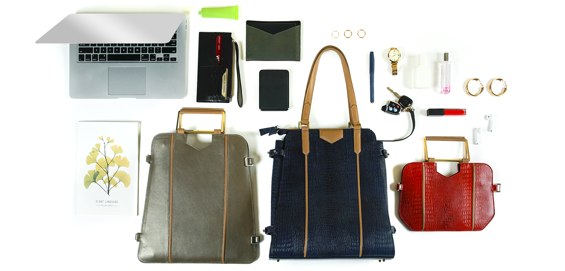 Spacious Urban Triad 3-bags-in-1 in leather fits omni wallet & passport case