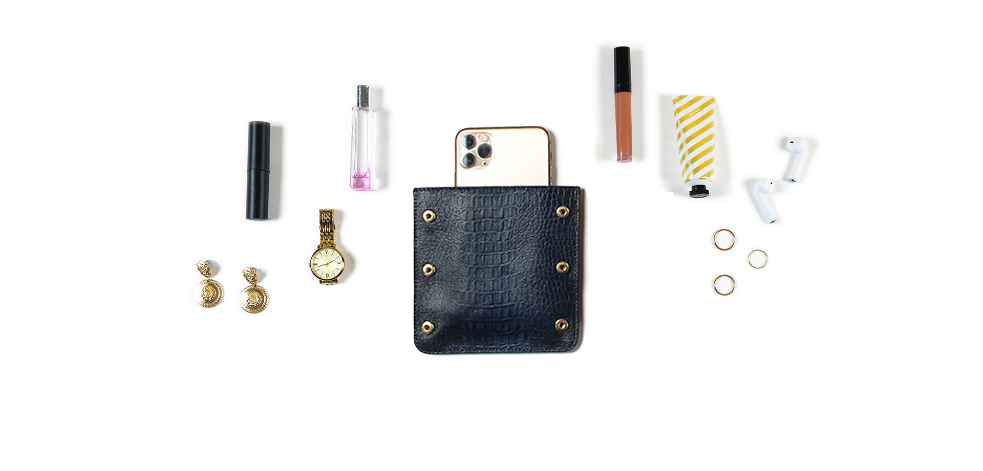 Asteria Phone Pocket in embossed croc navy leather fits phone & cosmetics